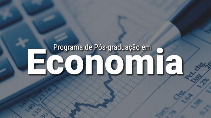 Imagem ilustrativa com uma calculadora e uma caneta e os dizeres Programa de Pós-graduação em Economia